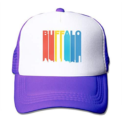 - Vintage 1970s Buffalo New York Cityscape Adult Mesh Cap Adjustable Snapback Hats Purple