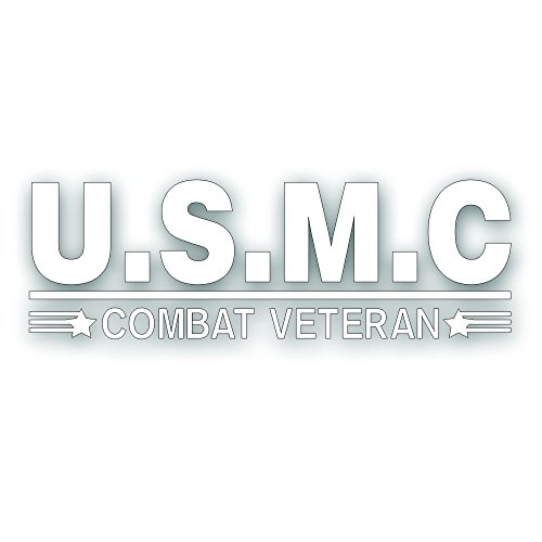 Solar Graphics USA Combat Veteran U.S.M.C. Decal - For Military Marine War Vet Windshield Or Car Bumper Sticker - Single 3 1/2 x 10 Inch White