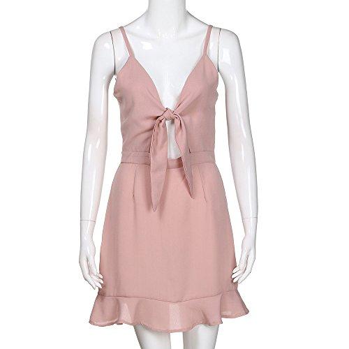 Les Femmes Chanyuhui Debardeurs Robes En Vente Dame Solide Soirée Sans Manches Creux Bowknot Mini-robe Rose