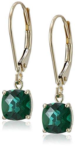 10k Earrings Gold Emerald Yellow (10k Yellow Gold Cushion-Cut Checkerboard Created Emerald Leverback Earrings (6mm))