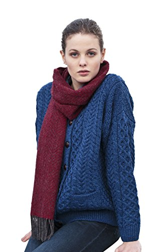 Carraig Donn Irish Fisherman Sweater Ladies 100% Merino Wool Blue, Large