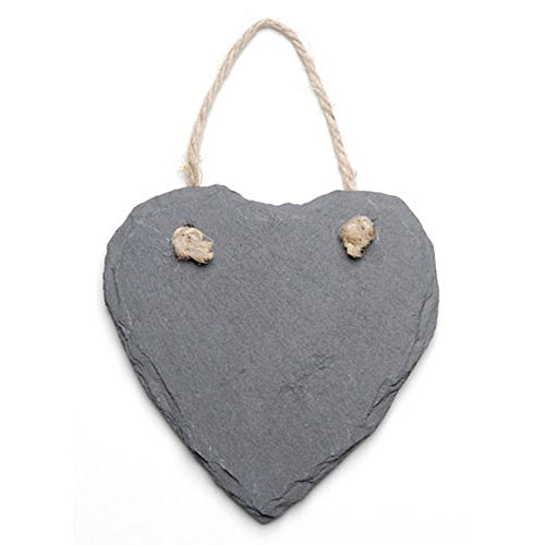 Mini Heart-Shaped Slate Chalkboard Distressed Hanging Sign 4.7