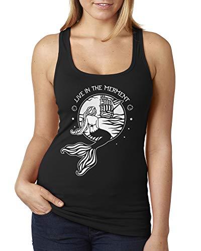 Live in The Merment Funny Mermaid Saying Ladies Racerback Tank Top Medium Black (Mermaid In Tank)