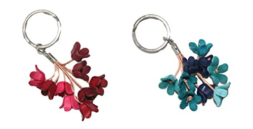 Key Ring Leather Flower - Pack of 2 Bella Pazzo Handmade Blue bell Flower Leather Keychain Backpack Animal Key Ring Clasp Bag Charm Handbag Purse charm