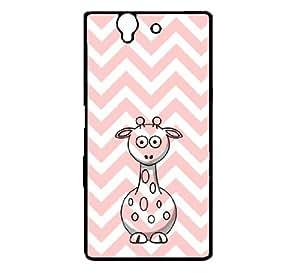 Giraffe Baby Pink Zig Zag Cute Hipster Sony Xperia Z L36i Case - Fits Sony Xperia Z L36i