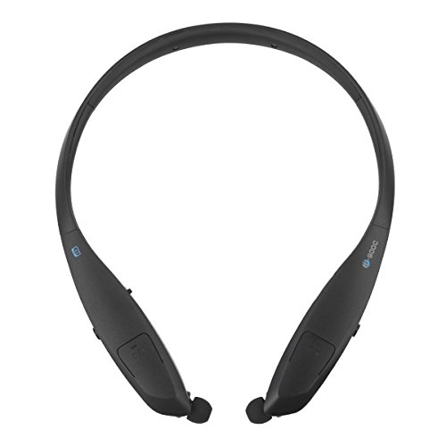 Pianogic Retractable Neckband Bluetooth Headphones HB-900C V4.0 Music Sport Wireless Stereo Noise Cancelling Sweatproof Bluetooth Headset Retractable Earbuds Call in Vibration Reminder(Black)
