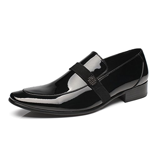 Faranzi Oxford Shoes for Men Patent Leather Tuxedo Moc Toe Slip-on Loafer Mens Dress Shoes Zapatos de Hombre Lace up Comfortable Classic Modern Formal Business Shoes - Leather Patent Leather Tuxedo