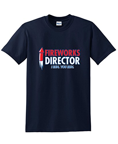 Feelin Good Tees Fireworks Director. I Run, You Run 4th of July Funny T-Shirt 3XL Navy
