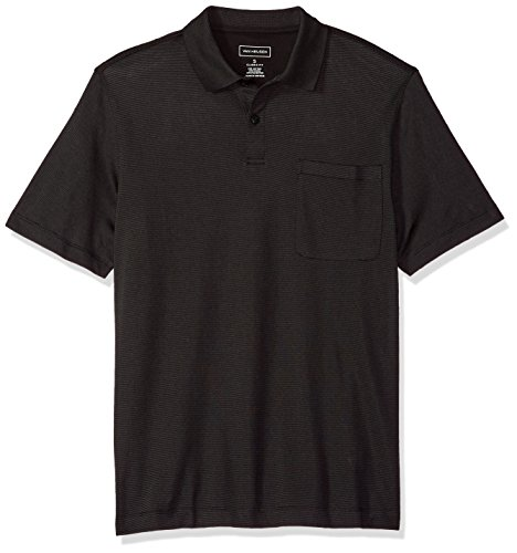 Van Heusen Men's Short Sleeve Jacquard Stripe Polo Shirt, Black, Large
