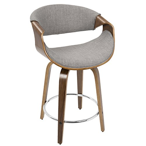 Plugtronics Mid-Century Modern Contemporary Wood Fabric Foam Low Back 24-inch Counter Stool (Grey) (Only Stool Bar Cream Frame)