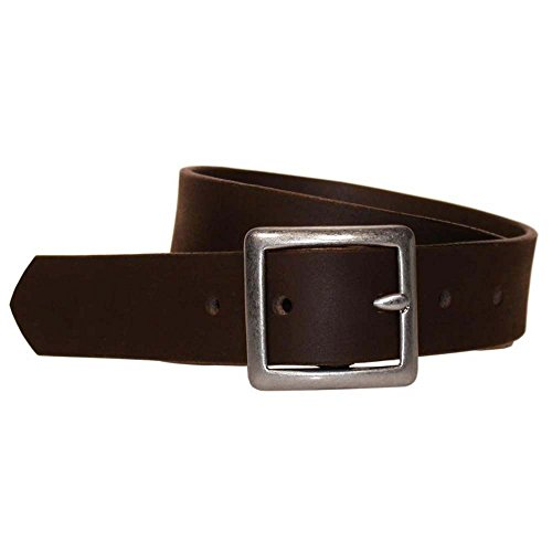(Bison Designs Full Grain Water Buffalo Leather 32mm Standard Leather Belt with Dull Silver Buckle (Brown, 38-Inch Waist))