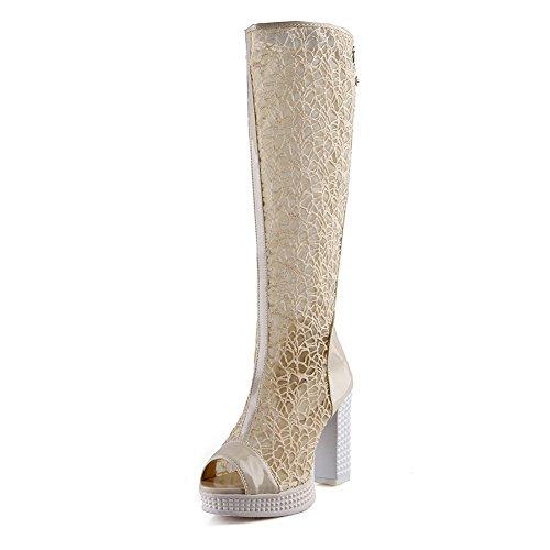 1TO9 Ladies Hollow Out Leopard Pattern Lace Mesh Sandals Beige jHVlLjq