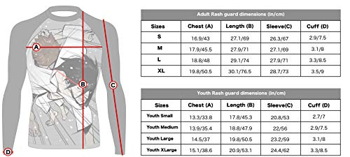 Barracuda Sportswear Men's Long Sleeve Compression Shirt - Cool Dry MMA, Wrestling, Sports, BJJ Rash Guard - Anime Design 4