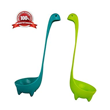 Nessie Ladle Soup Ladle 2 Pack Loch Ness Monster BPA Free Disher Safe 100% Stands Upright Cookware Tableware Kitchen Utensil Dipper Green and Blue