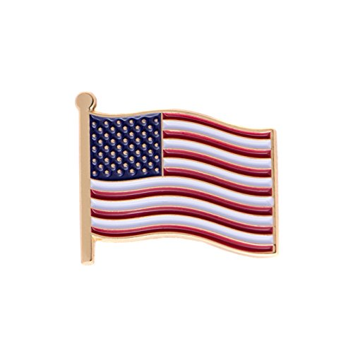 United States of America USA Country Flag Lapel Pin Enamel Made of Metal Souvenir Hat Men Women Patriotic American (Waving Flag Lapel Pin)