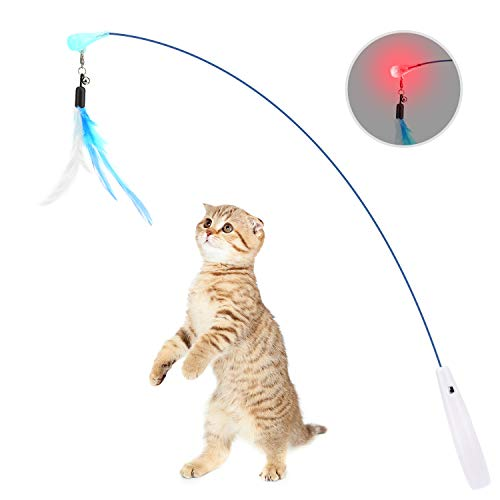 Pawaboo Feather Teaser Cat Toy, Interactive Feather Wand Cat Toy Flying Feather Cat Catcher with Extra Long Wand and Small Bell, Fun Exerciser Playing Toy for kitten or cat