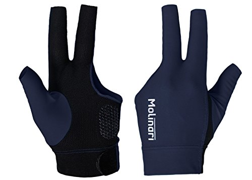 Molinari Fingerless Glove V2 Professional Billiard Accessories in Navy/Black Color for Carom Pool LHP Left Handed Players