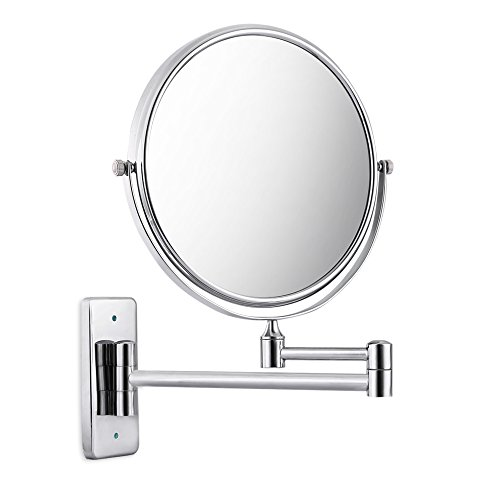 Damaifeng 3X Magnification for Vanity Countertop/European creative bathroom | Double Sides Swivel Wall Mounted Extendable Swivel Fold Copper Makeup Mirror with 6 Inch/8 Inch Square Base (6 inch) by Damaifeng
