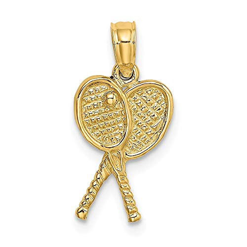 (FB Jewels Solid 14K Yellow Gold Tennis Racquets Pendant)