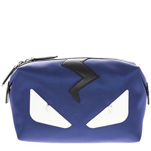 Fendi Men's 'Bags Bugs Eye' Top-Zip Leather Trim Nylon Beauty Case Navy - Eye Fendi Bag
