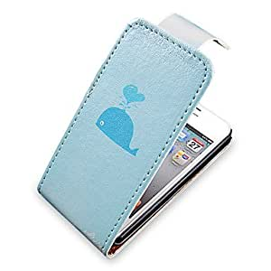 TY-Whale Pattern Up-Down Turn Over PU Leather Case Bady completa para el iPhone 4/4S