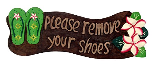 Please Remove Your Shoes Wood Sign with Flip Flops Tropical Flower ()