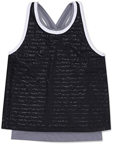 Calvin Klein Big Girl's Performance Cross Back Tank Top, Black Logo, Large (12/14)
