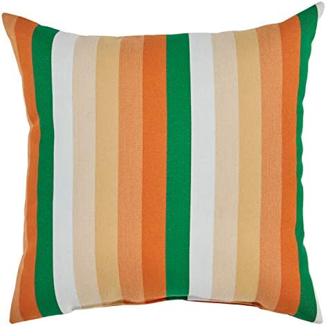 Amazon Brand Rivet Mid-Century Outdoor Striped Throw Pillow – 17 x 17 Inch, Fiesta