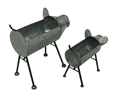 Galvanized Metal Set of 2 Indoor Outdoor Pig Planter Sculptures