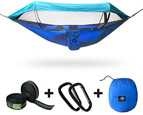ayamaya 2 in 1 Camping Hammock with Mosquito Net Sunshade Cloth Tree Straps for 2 Double Person, Portable Parachute Lightweight Big Pop Up Swing Hammock with Bug Insect Netting