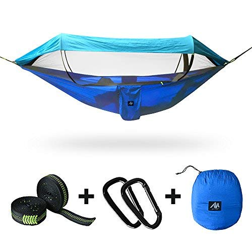 [3 IN 1] Camping Hammock for 2/Double Person with Mosquito Net & Sunshade Cloth & Tree Strap,AYAMAYA Portable Parachute Nylon Lightweight Big Pop Up Swing with Bug/Insect Netting for Backpacking Sleep