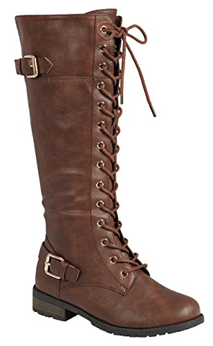 Forever Link Women's Strappy Lace-Up Knee High Combat Stacked Heel Boot (8 B(M) US, Brown) by Forever Link (Image #2)