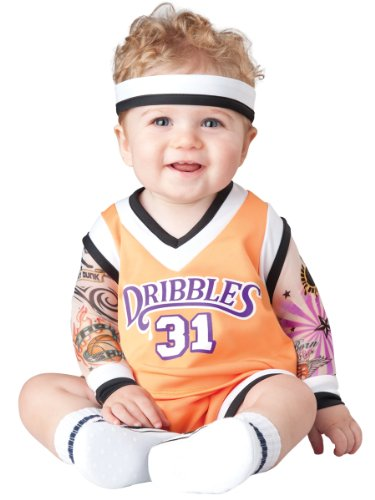 InCharacter Baby's Double Dribble Basketball Player Costume, Orange/Black, Small by Fun World ()