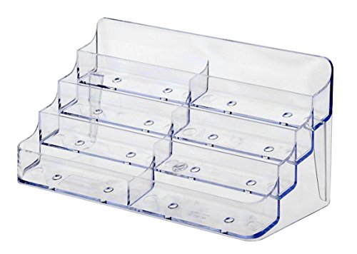 - deflecto 70801 Eight-Pocket Business Card Holder, Capacity 400 Cards, Clear