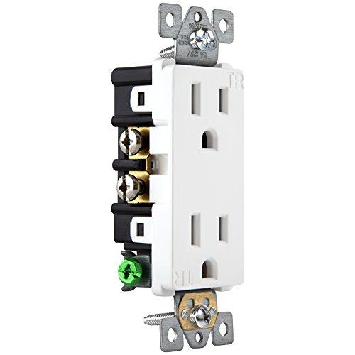Enerlites 15A Tamper Resistant Outlet 61501-TR | Decorator Duplex Receptacle, Residential Grade, Self-Grounding, Child Safe, UL Listed, Straight Blade, 2-Pole | 125V, White - 10 Pack by Enerlites (Image #3)