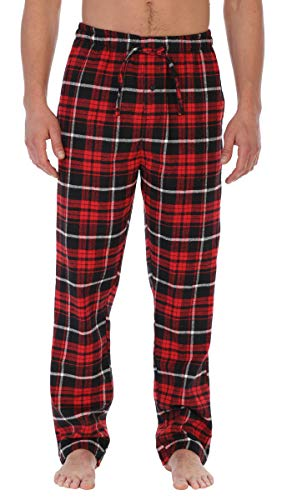 Gioberti Mens Brushed Flannel Pajama Pants, Elastic Waist, Red/Black/White Highlight, X-Large