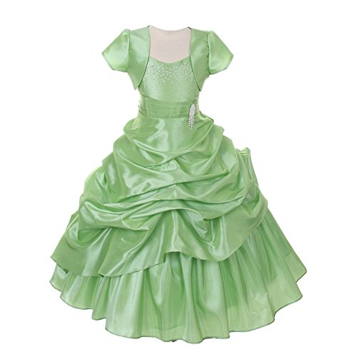 Chic Baby Little Girls Sage Bejeweled Pick Up Bolero Pageant Dress 2 Bolero Sage