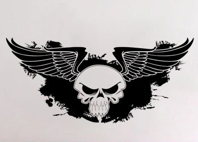uBer Decals Vinyl Wall Decal Sticker Skull w Wings 3 579 54x115 inches