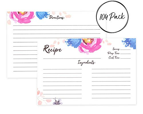 Outshine 4 x 6 Watercolor Floral Pink Peony & Blue Pansies Recipe Cards Bulk Set for Recipe Box (104 Pack) | 100 Blank Index Cards and 4 Dividers with Tabs | Heavyweight Double-Sided Card Stock