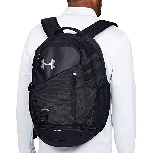41o4do3VuuL - Under Armour Hustle 4.0 Backpack, Black (001)/Silver, One Size Fits All