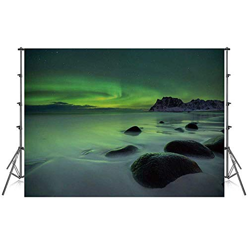 - Northern Lights Stylish Backdrop,Magic Nature Panorama Coastline Oval Energy Sky Mist Picture for Photography Festival Decoration,86''W x 59''H