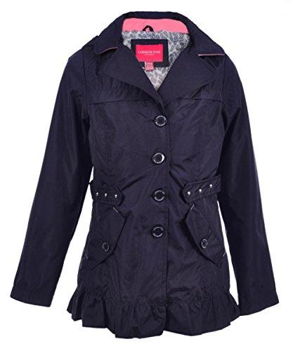 London Fog Girls' Hooded Raincoat - Navy, 10-12