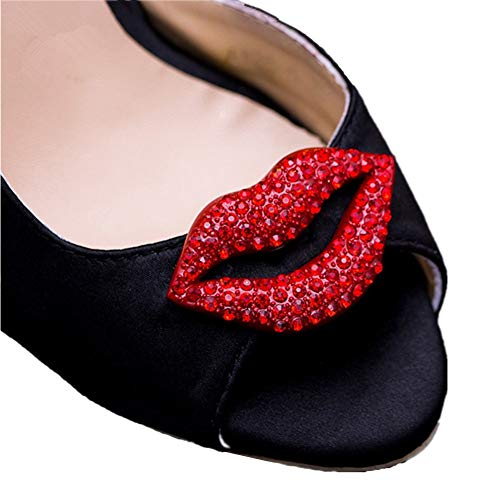 Douqu 2 Pcs Classic Sexy Red Lips Kiss Mouth Rhinestone Crystal Christmas Removable Wedding Shoe Clips from Shoe Accessories