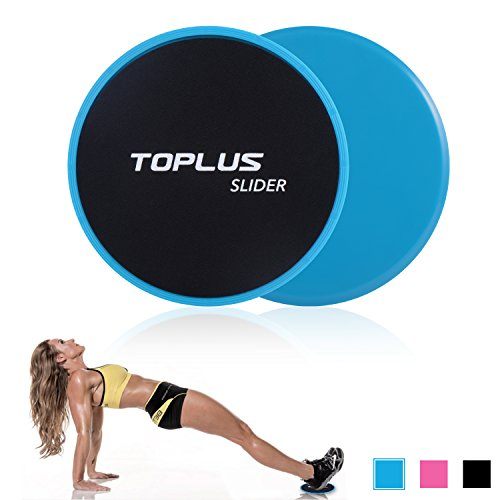 TOPLUS Exercise Slider, Dual Sides Workout Slider Strength Slider Gliding Discs for Core Exercise and Full Body Workout-Abdominal Fitness Equipment Work on Any Surface. (blue)