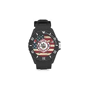 Cool bombero emblema y la bandera americana niños 'redonda de goma reloj deportivo día de Navidad regalo