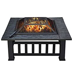 Fire Pits Yaheetech 32in Outdoor Metal Firepit Square Table Backyard Patio Garden Stove Wood Burning Fire Pit with Spark Screen… firepits