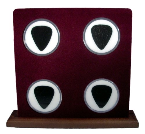 - Wood Display Stand For Four (4) Guitar Picks (Burgundy/White) 100% Made In USA!
