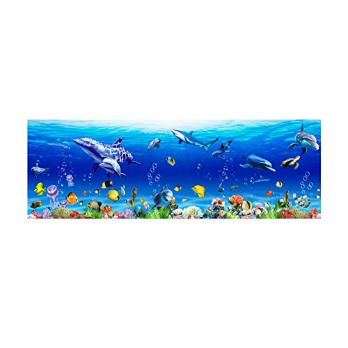 YOEDAF Underwater Wall Sticker, Ocean Fish Shark Dolphin Marine Wall Art Decal Sealife World Removable Decorative Wallpaper Poster Mural DIY 3D Home Decor(25x70cm) ()