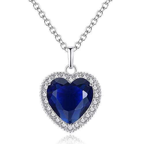 ATDMEI Sapphire Titanic Heart of The Ocean Pendant Necklace for Women Girls Sterling Silver Plated Zircon Blue Jewelry Gifts