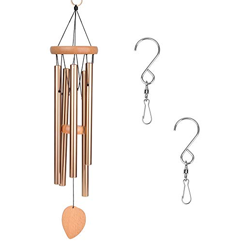 "DEWEL Wind Chimes Outdoor,Amazing Grace Wind Chime with 5 Aluminum Alloy Tubes 25"" Large Wind Chimes with Free 2 Pack Hooks,Home Indoor Decoration for Patio Lawn Garden Balcony Porch Backyard Review"